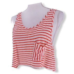 Forever 21 Tops - 2/30 XXI Red + White Stripe Crop Top Muscle Tank M